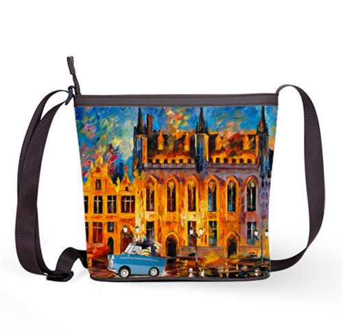 Oil Painting Architecture Custom Fashion Pop Messenger Bags One Piece Shoulder Sling Bag Free Shipping In Crossbody From Luggage On