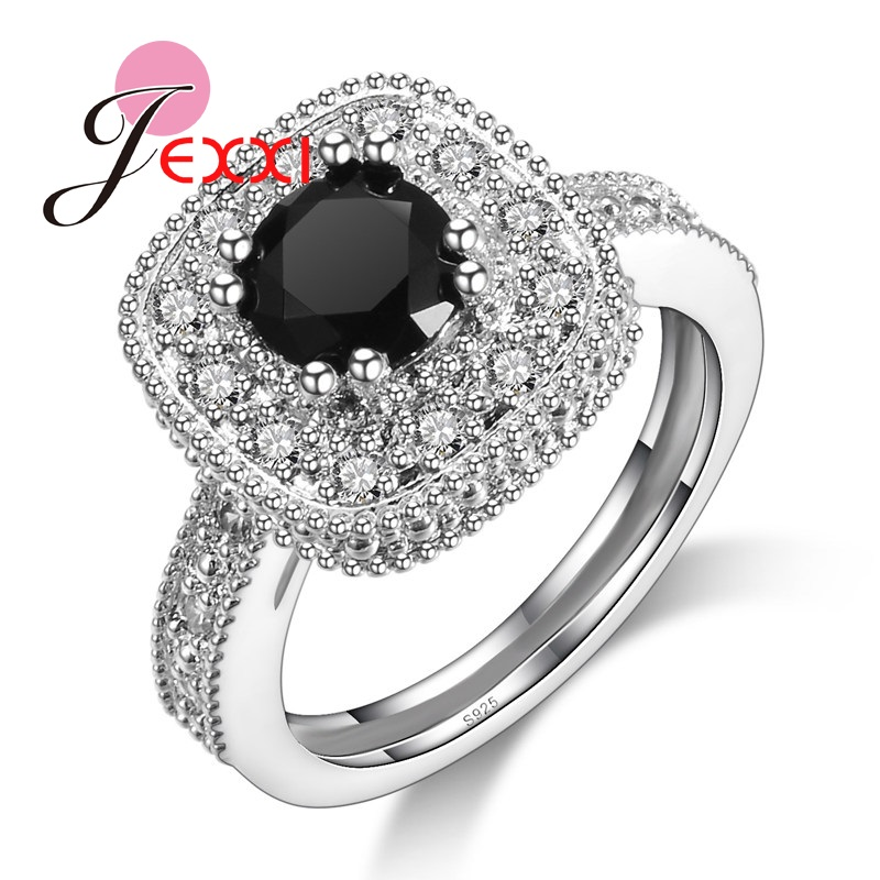 Vintage Antique 925 Sterling Silver Black Crystal Ring For Woman Fashion Design Big Square Stone Finger Jewelry Rings