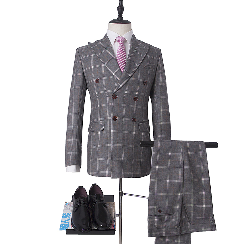 Latest Coat Pant Designs Custom Made Groom Tuxedos 2psc Grey Plaid Men Suits With Pants Double Breasted Blazer Wedding S