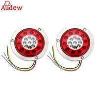 2Pcs Round Steel Ring Car Side LED Lamp Light 19 LED Truck Trailer Lorry Brake Stop