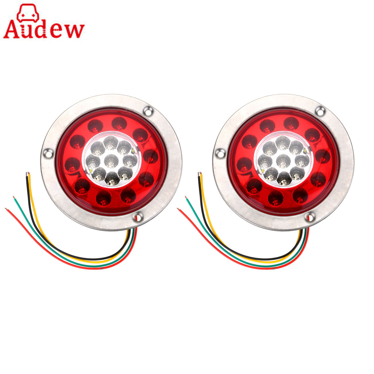 2Pcs Round Steel Ring Car Side LED Lamp Light 19 LED Truck Trailer Lorry Brake Stop Turn Tail Light Stainless eonstime 2pcs 12v 16 led red white truck trailer boat stop turn tail light reverse light lamp waterproof