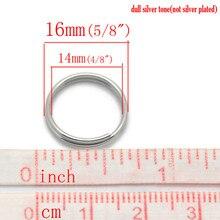 Doreen Linda Caixa 200PCs Cor Prata Split Rings Achados Moda DIY Componentes Para Fazer Jóias 16mm(5/8