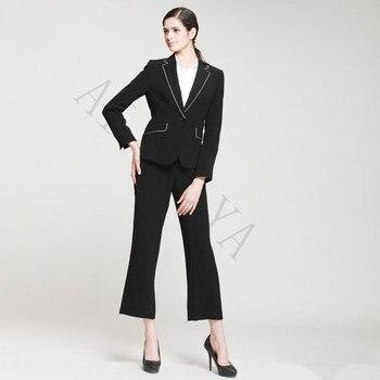 Fashion Women's Leisure Suit Soild Color Suit Jacket And Pants Black Female Business Suit Office Uniform Style Custom