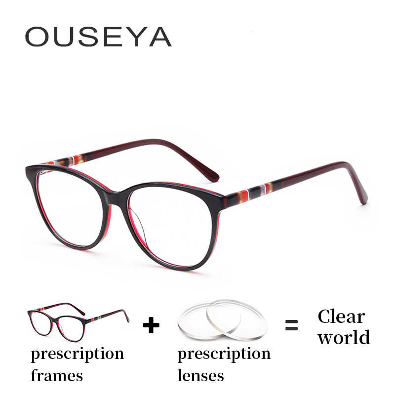 fc0b7d9c5cb Acetate Women Diopter Glasses Vintage Retro Trendy Transition Thin  Astigmatism Clear Lens Aspherical Reading Eye Glasses