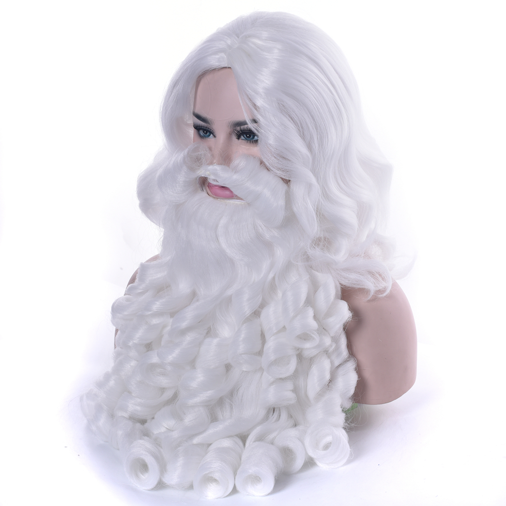 IMISSU Christmas Gift Santa Claus Wig And Beard Synthetic Hair Short Cosplay Wigs For Men White Hairpiece Accessories Hat
