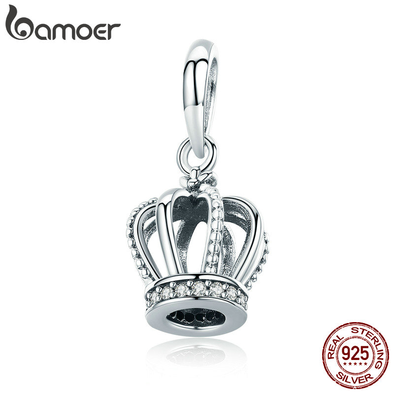 BAMOER Véritable 925 Sterling Argent Princesse Couronne Effacer CZ Pendentif Charms Fit Bracelets & Colliers Chaîne Fine Jewelry SCC781