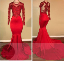 2019 Red Plus Size Long Sleeve Mermaid African Prom Dresse Train High Neck Elegant