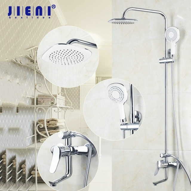 8 Inch Wall Mount Chrome Brass Shower Set Bathroom Shower Head