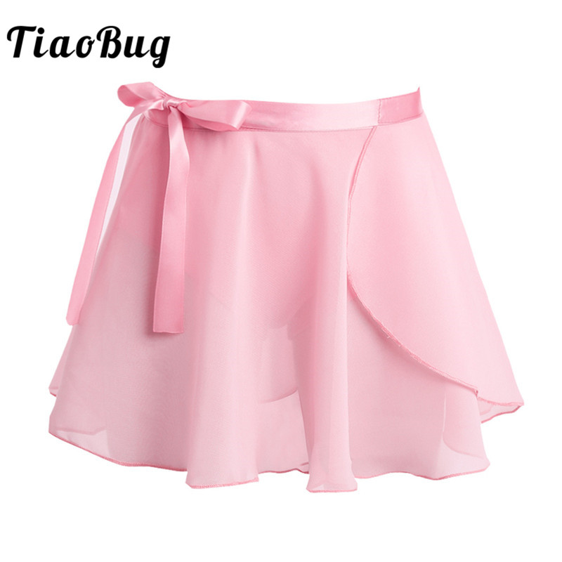 TiaoBug Kids Girls Ballet Tutu Skirt Dance Chiffon Basic Mini Pull-On Wrap Skirt With Waist Tie For Ballet Latin Dance Practice