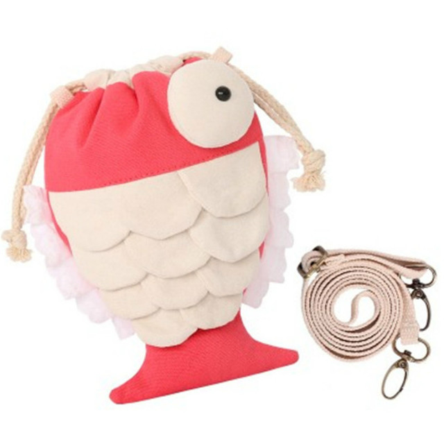 Brand fish handbag original cute canvas portable art fresh Messenger bag girl Japanese drawstring crossbody purse bags