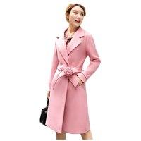 2018 winter women Set elegant fashion sweet temperament minimalist style two piece set long coat + Skirt Woolen coat women