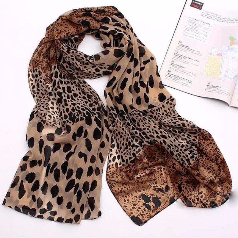 New Noble Fashion Women Long Soft Wrap Lady Shawl Silk Chiffon Scarves Leopard Print Shawl All-match Lady Soft Scarf