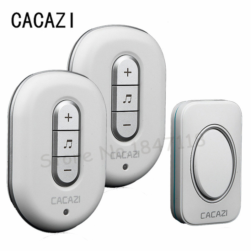 Free Shipping 48 Chime Led Door Bell Waterproof Wireless Doorbell Remote Control With 1 Push Button Transmitter + 2 Receivers 2 receivers 60 buzzers wireless restaurant buzzer caller table call calling button waiter pager system