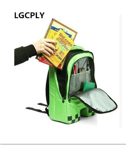 Hot-selling Cartoon Block Backpack High Quality Unisex 16 Oz Canvas Zip Creeper Backpacks Mochilas School Bag Bolsas Game Gifts