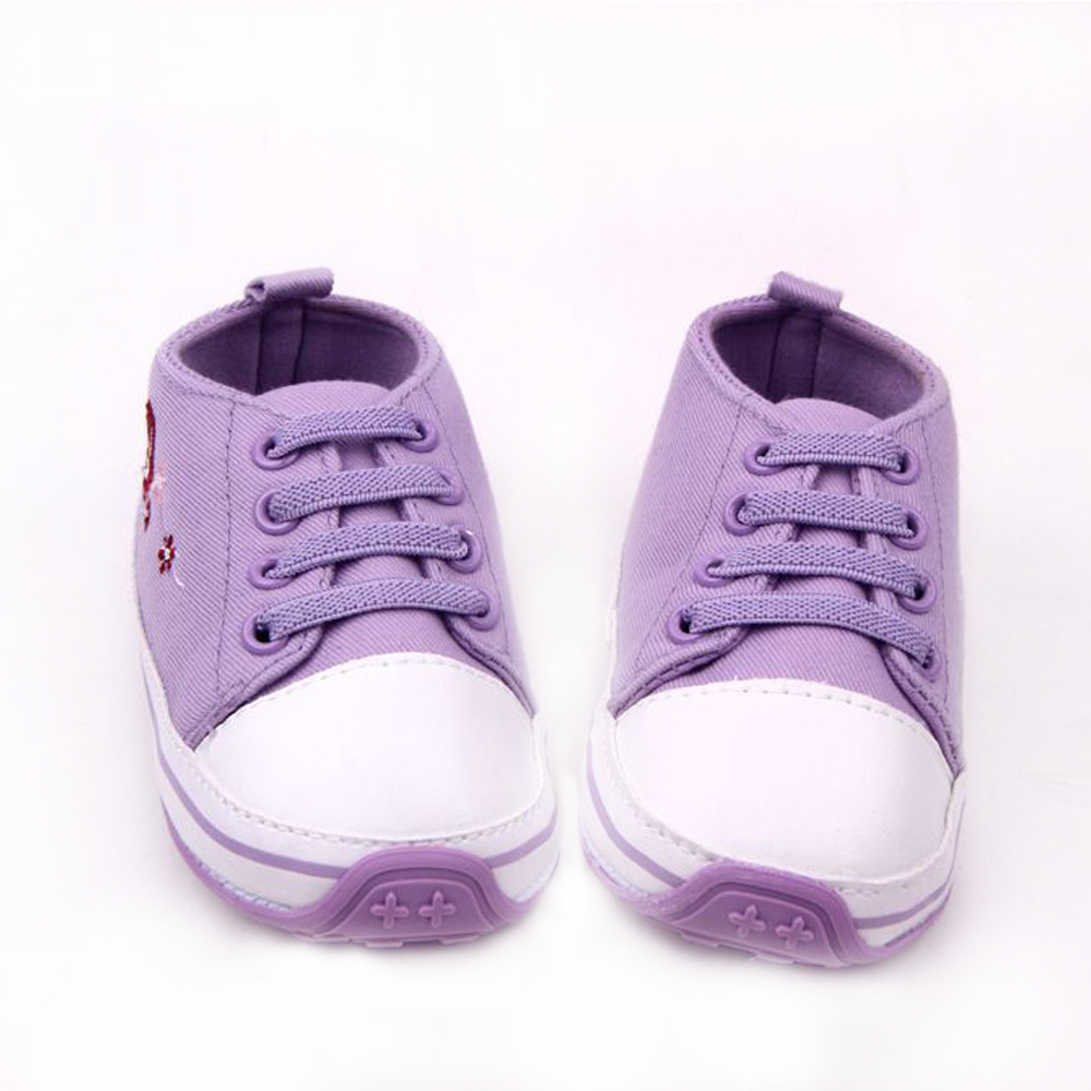 Brand Canvas Sneakers Baby Girls Shoes Lace Up Floral Bebes Walker Rubber Sole Purple Shoe Newborn Infant Toddler Christmas Gift