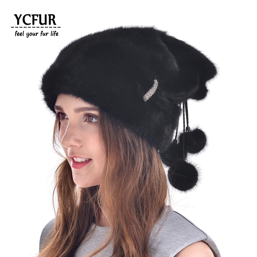 YCFUR Luxury Women Fur Beanies Hats Winter Genuine Full Pelt Mink Fur Caps With Fur Pom Hats Caps Soft Warm Mink Hat Winter new winter women children girl knitted mink fur hat striped words with fox ball mink weave hats caps headgear skullies beanies