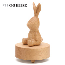 JUH 1pc Animal Design Rabbit Bear In Optional 360-Rotating Musical Boxes Wooden Music Box Wood Crafts Gift Vintage Accessories