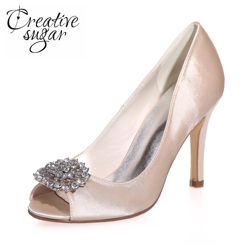 Creativesugar Sparkle crystal brooch open peep toe satin dress shoes evening party prom pumps bridal wedding red ivory silver round toe satin white wedding shoes rose bridal dress shoes party prom dress shoes for ladies