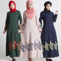 muslim dresses muslim gown loose dresses print women dresses muslim clothing slim long sleeve arab robe malaysia clothing 5367