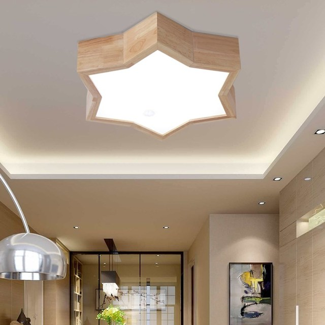 Five pointed star solid wood LED  creative fashion living room study room children's bedroom balcony wooden ceiling lamp LO817