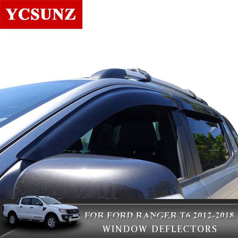 2012-2018 Car Window Deflectors For Ford Ranger T6 T7 Black Car Wind Deflector Guard For Ford Ranger Wildtrak Vent Visor Ycsunz 2017 car wind deflectors of accessories for toyota hilux revo 2015 new pickup white window rain guard hilux window visor ycsunz