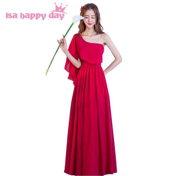 bridesmaid   burgundy wine red one shoulder sleeveless floor length chiffon   dress   chiffon grecian style   bridesmaids     dresses   H4161