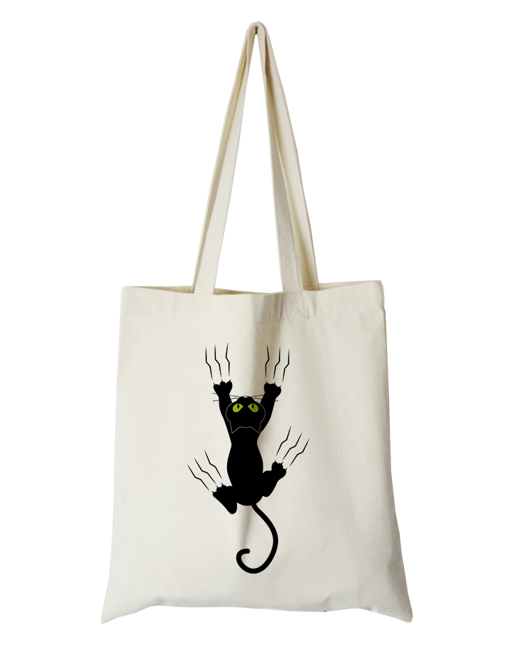 cute cat series canvas custom tote bag customized eco bags custom made shopping bags with logo  Dachshund Shepherd Dog Poodle (10)