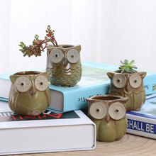 1PC Cartoon Owl-shaped Flower Pot for Succulents Fleshy Plants Flowerpot Ceramic Small Mini Home Garden Office Decoration