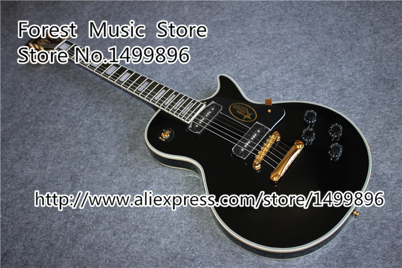 Top Selling Black Glossy Finish LP Electric Guitars Chinese P90 Style Pickup Guitar For Sale hot selling cheap price sg standard electric guitar bigpsy tremolo stain finish chinese guitars in stock for sale