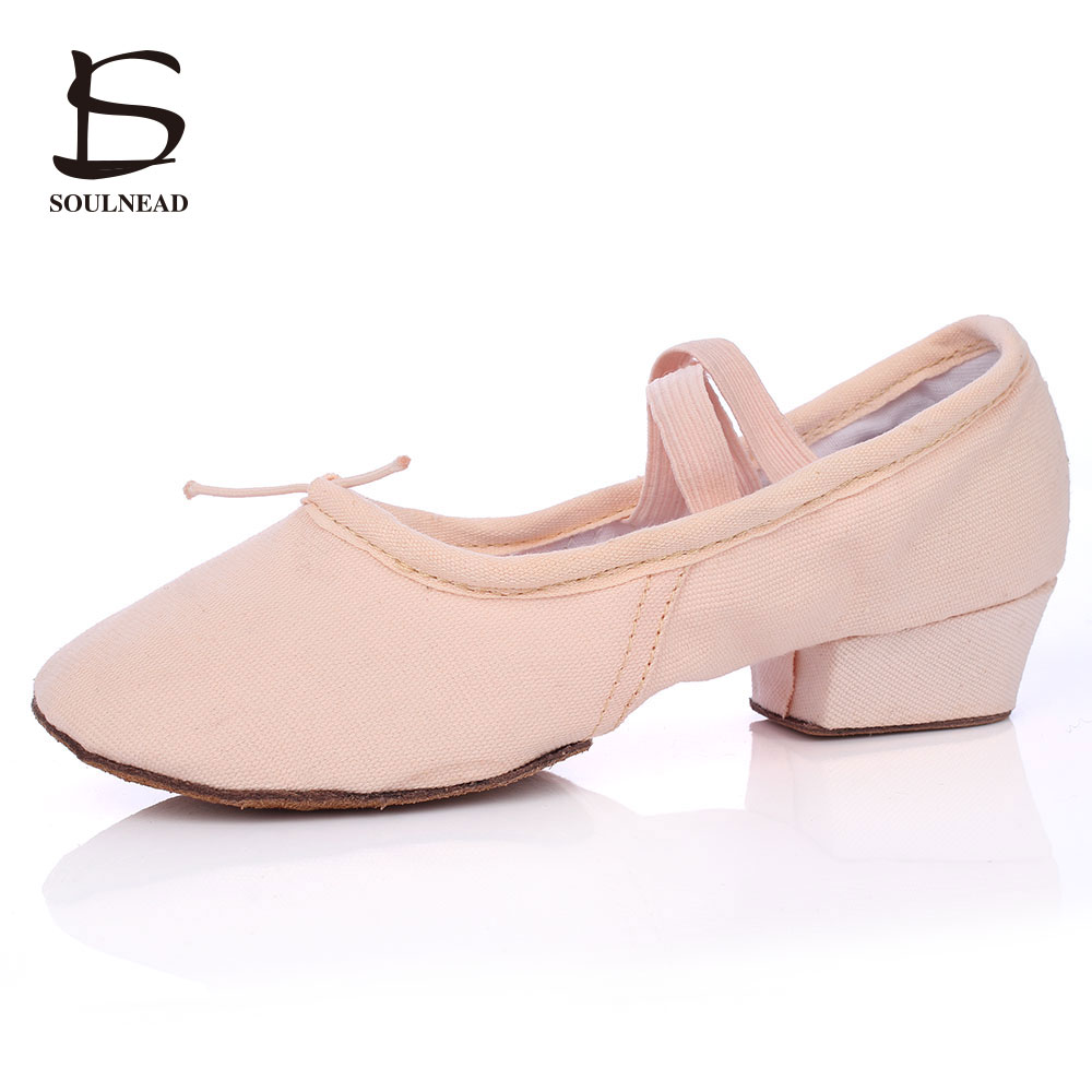 Ballet Dance Shoes For Ladies/Girls Soft Ballroom Dance Shoes 3.5cm Low-Heeled Leather Canvas Salsa Tango Dance Shoes 7 Colors
