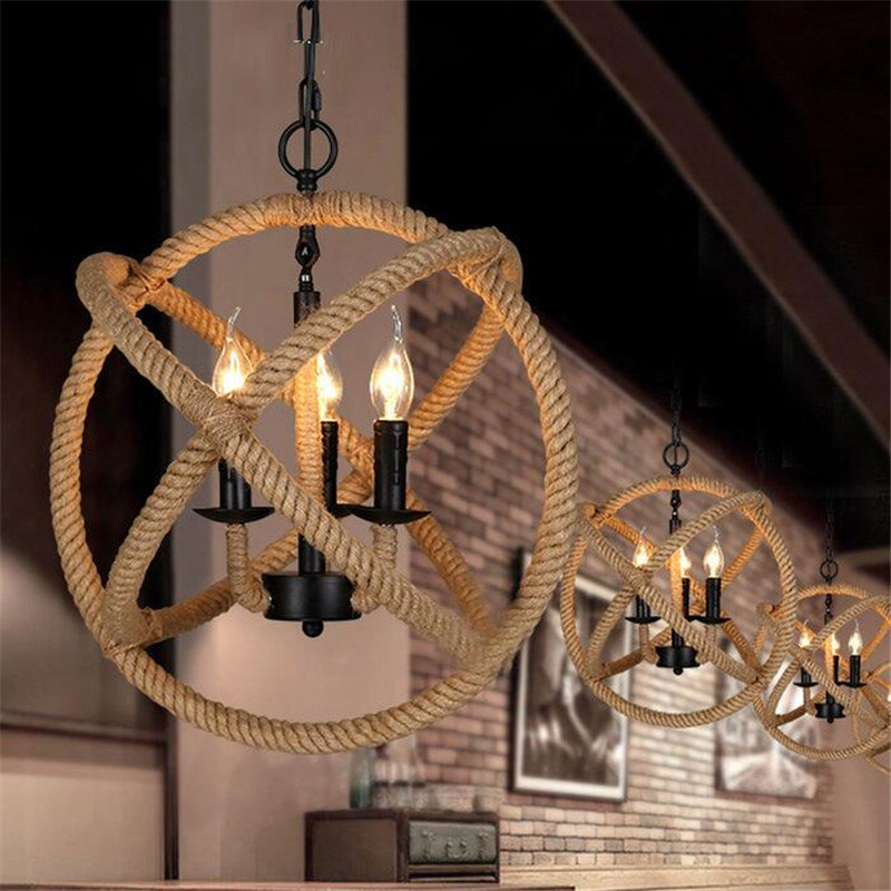 Nordic art simple iron hemp rope pendant lamp rustic industrial wind loft lamp chandelier for bar hotel cloth-shop studio cafe the cafe shop vintage clothing store small chandelier bar loft iron chandelier geometry character