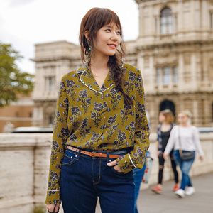 Image 3 - INMAN Spring Autumn Lapel Retro Style Flower Printing Lazy Wind Long Sleeve Women Blouse