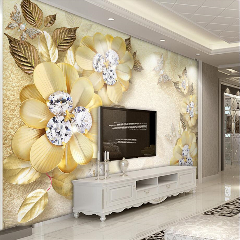 Large 3d European Pearl And Rose Jewelry Tv Background: Beibehang Custom 3d Wall Paper Murals Living Room Bedroom