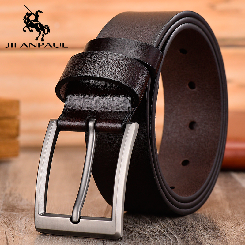 JIFANPAUL belt men's leather high quality pin buckle retro classic leather casual jeans wild men's genuine leather student belt