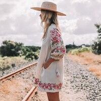 Jastie Embroidered floral Tunic Dress 2018 Spring Summer Dresses Lantern Sleeve V neck Tassel Boho Hippie Beach Dress Vestidos