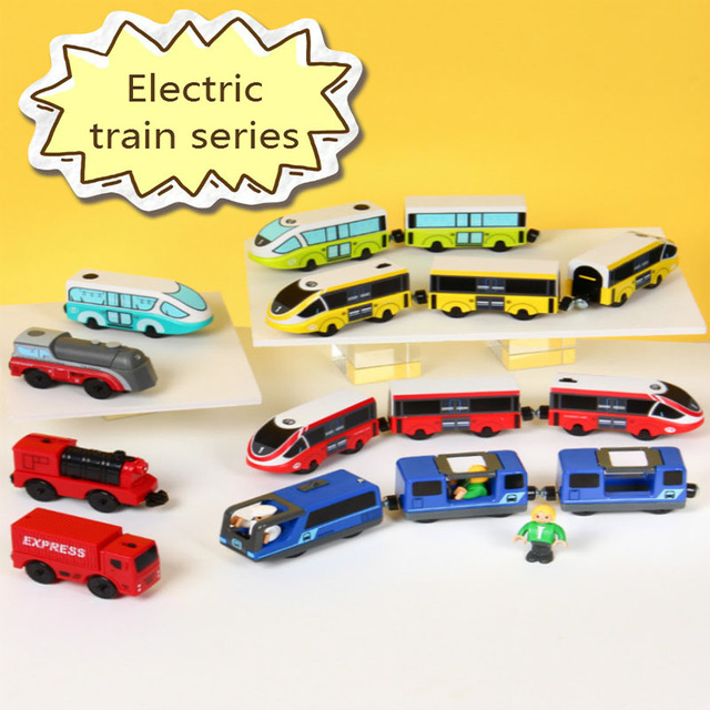 Drop shipping Diecast Electric Train Toys Magnetic Slot Electric Train Wooden Brio Tracks Train Set FIT Thoma Wooden Railway