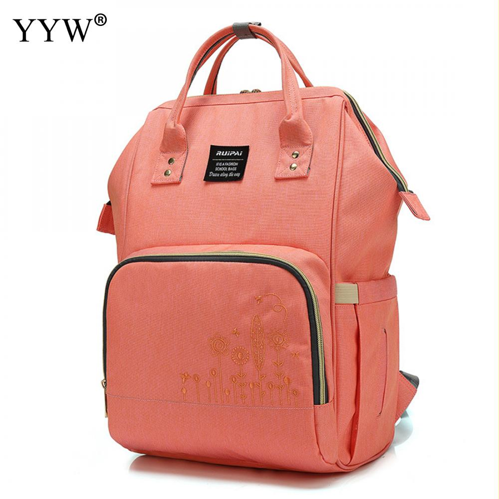 Mom Backpack Large-Capacity Nylon High-Quality And 4-Colors Separating Moist Pink Dry