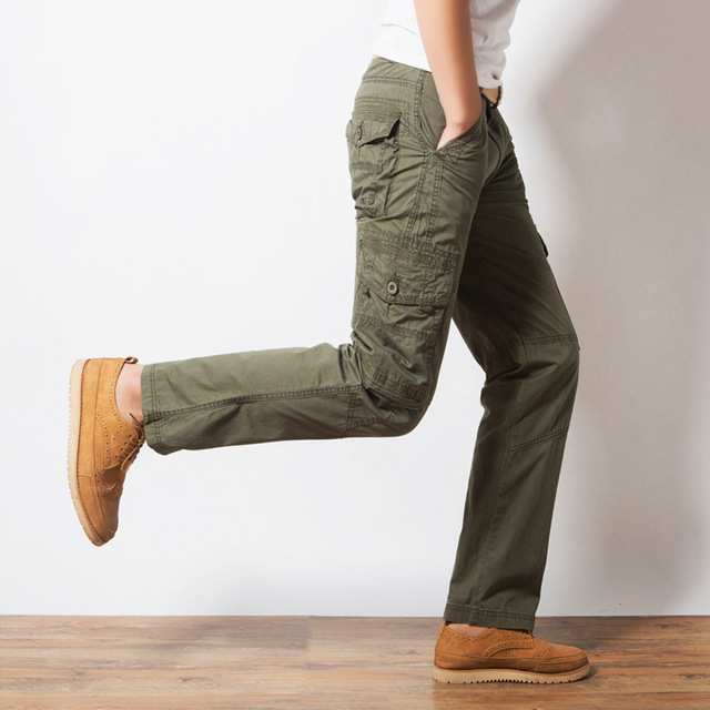 a01d6cc135c Mens Cargo Pants Slim Straight Multi Pocket Military Casual Pants Men  Chinos Long Trousers Black Khaki