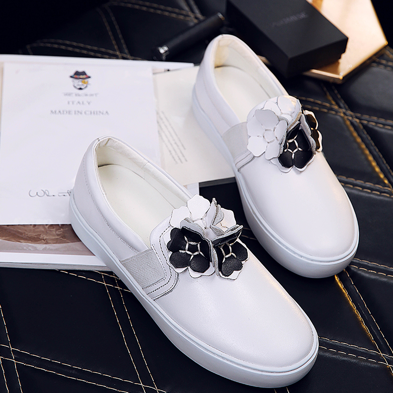 ФОТО Women's Autumn Applique Flower Loafers Real Leather Slip-ons Moccasins Leisure Espadrilles Shoes for Women Brand Design Footwear
