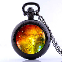 Wholesale Golde Pocket Watch Necklace, Galaxy Space Jewelry Antique Glass Dome Pendant