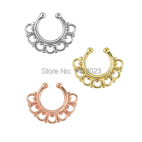 ᐊVenta caliente no piercing Septum Clicker anillo de nariz joyería ...