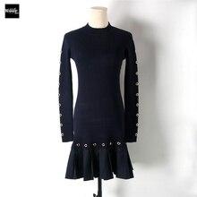 2018 Новый взлетно-посадочной полосы Дизайн осень-зима тонкий основной вязаный Платья-свитеры Для женщин оборками эластичный платье осень трикотаж Vestidos