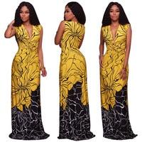African Dresses for Women Sexy V neck Flower Print Evening Long Dresses Bazin Riche Dresses Dashiki Women African Clothing