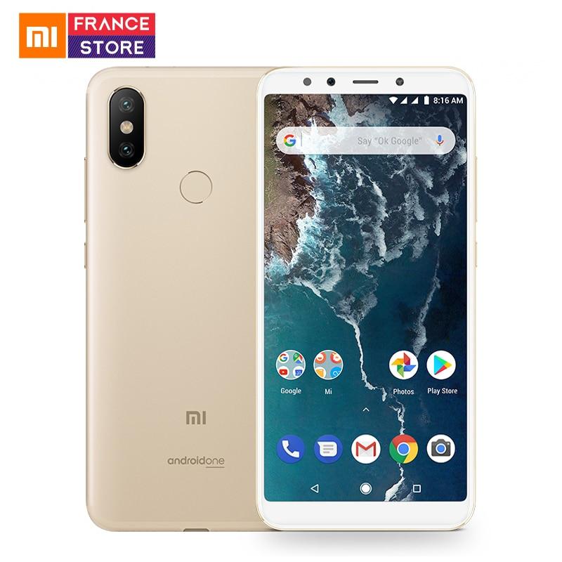 Version mondiale Xiao mi mi A2 5.99 pouces 18:9 plein écran 4 GB 64 GB Snapdragon 660 AIE 20MP + 12MP double caméra Android un Smartphone
