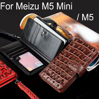 For Meizu M5 Mini Case Luxury Crocodile Snake Leather Flip Business Style Wallet Phone Cases For