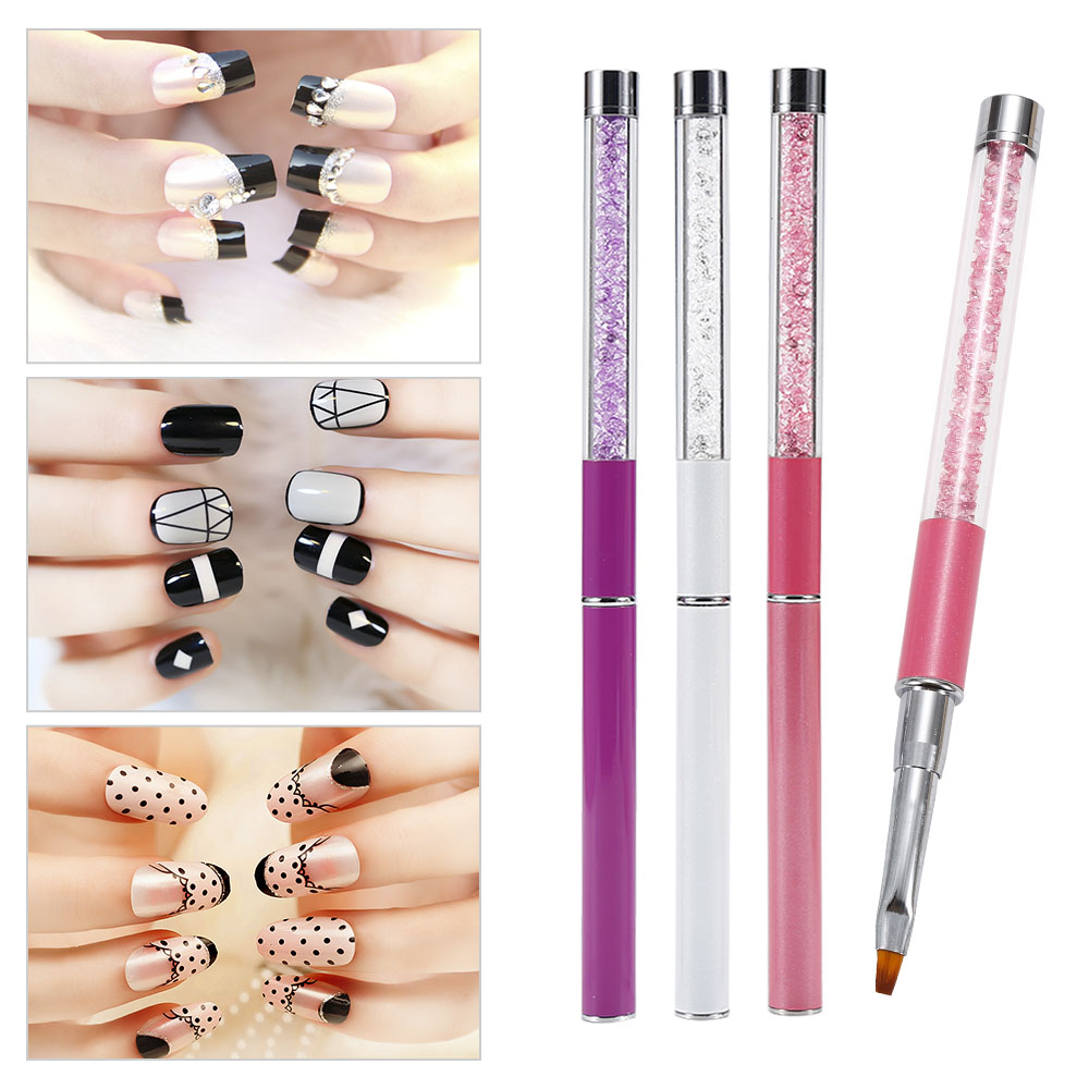 3PCS Nail Art Brush Painting 3D Flower Drawing Line Pen Crystal Rhinestone Acrylic UV Gel Polish Tip Design Manicure Tool