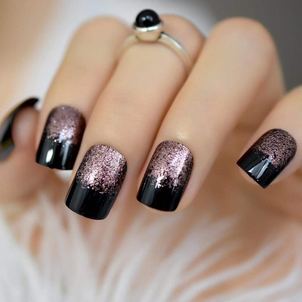 Studio 24 Artificial Nails Black Square Medium Fake Nail Art Tips Uv Gel Rose Gold Glitter