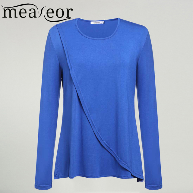 Meaneor Brand Plus Size Blouse Shirt New Women Casual O-Neck Long Sleeve Solid Loose Fit Cross Front Top Shirts XL-4XL