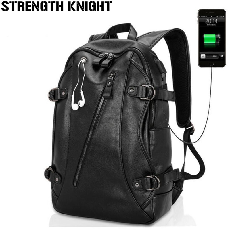 Laptop Backpack External USB Charge Computer Backpacks Fashion Male Mochila Leisure Travel Leather backpack anti thief