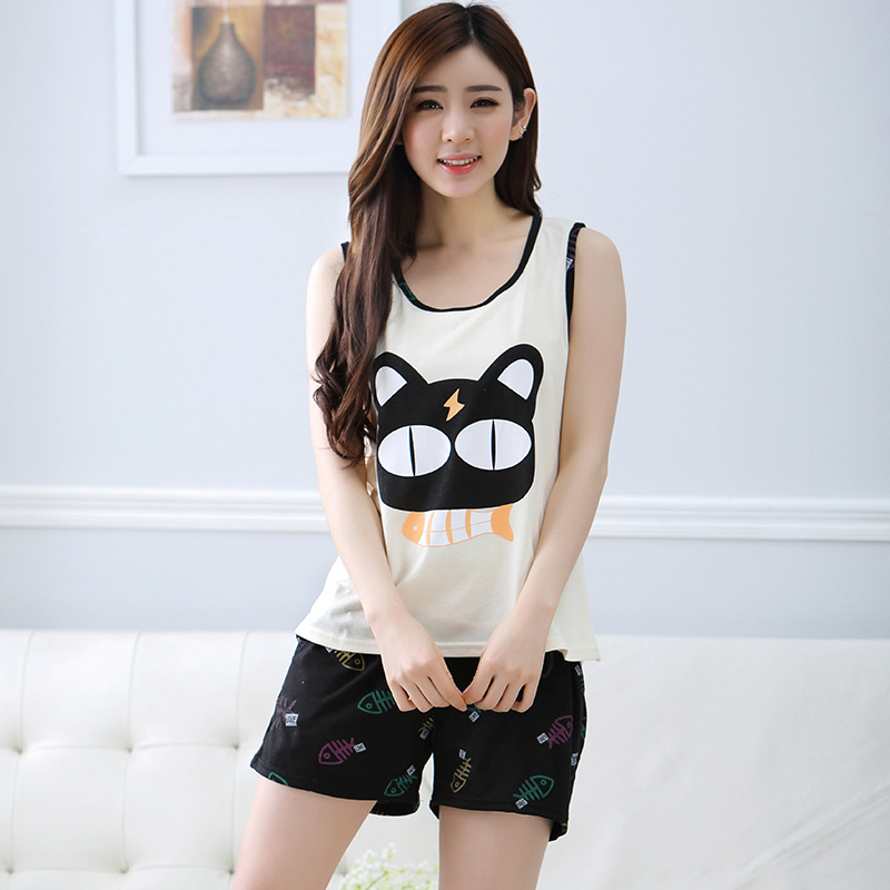 New Summer Women's Cotton Pajamas Sets Young Ladies ...